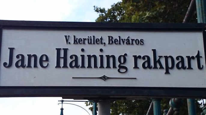Sign for the street in Budapest, Hungary named in Haining's honor.