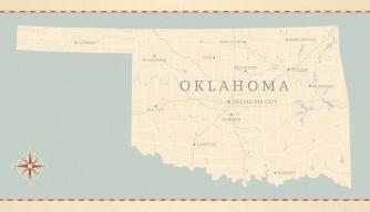 Vintage map of oklahoma, sooner state