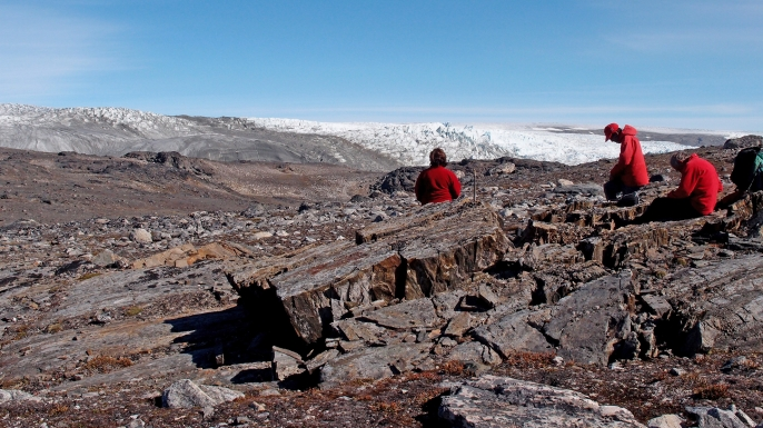The research team at Isua, near the edge of the icecap (in the image are Vickie Bennett, Allen Nutman (in red cap) and Clark Friend).