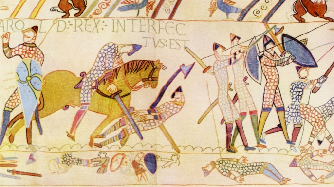 The death of Harold at the Battle of Hastings, as depicted on the Bayeux Tapestry. (