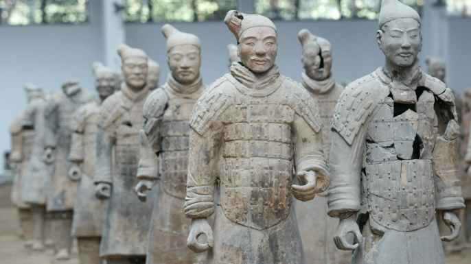 The 2,200-year-old Terra Cotta Army on display in Xian, China. (