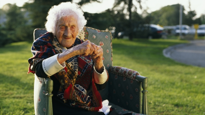 Jeanne Calment the world's oldest person. THE WORLD'S OLDEST PERSON (Credit: Pascal Parrot / Sygma / Getty Images)