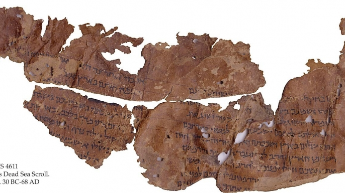 A fragment of the Dead Sea Scrolls that includes parts of the Book of Leviticus.