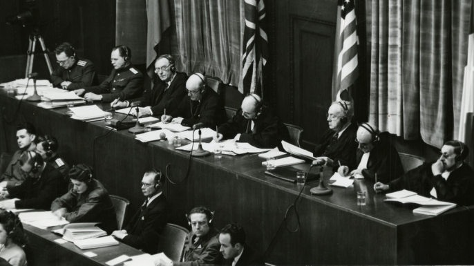 The judges panel during testimony at Nuremberg Trials.