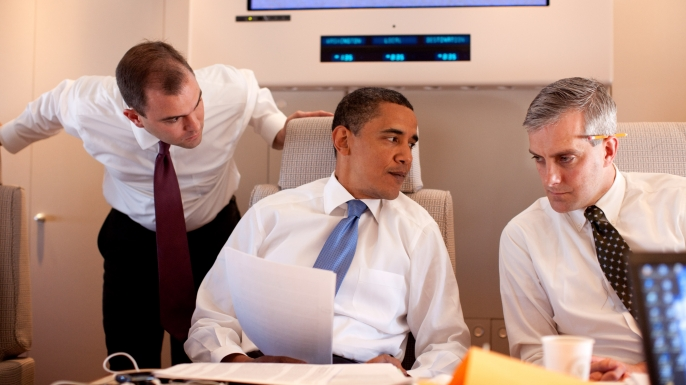 President Barack Obama meets with Deputy National Security Advisor for Strategic Communications Denis McDonough, right, and speechwriter Ben Rhodes on Air Force One on route to Cairo, Egypt, June 4, 2009. (Official White House photo by Pete Souza)