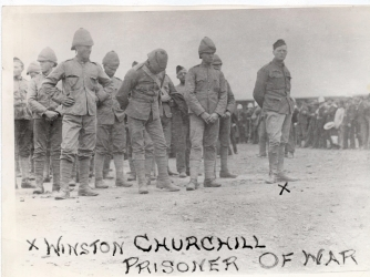 Churchill (far right) with his fellow POWs. (Credit: Doubleday)