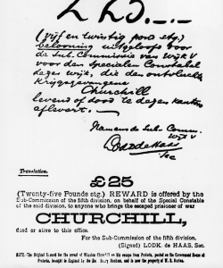 "A ""Wanted"" poster featuring Churchill and the reward for his return. (Credit: Hulton Archive/Getty Images)"