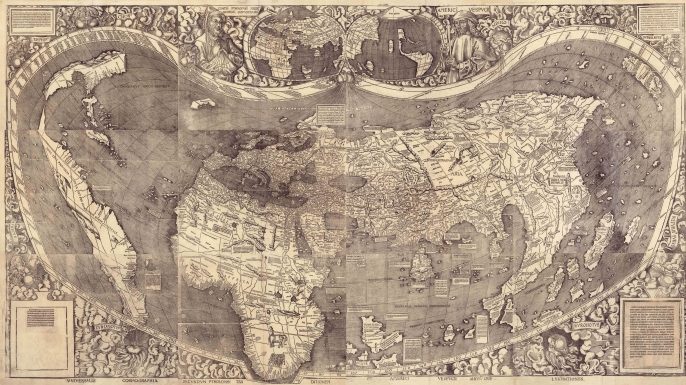 The Waldseemüller World Map, 1507. (Credit: Heritage Images / Getty Images)