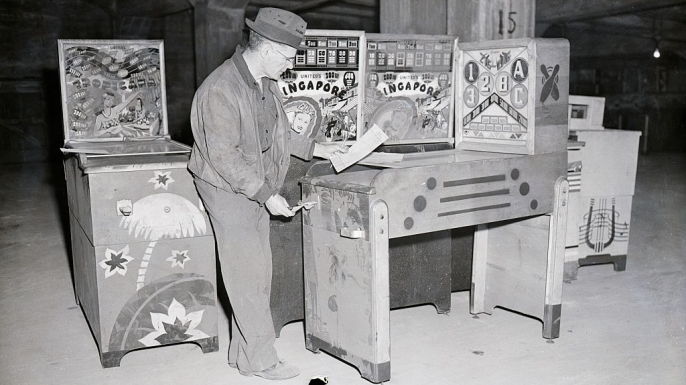 Confiscated pinball machines. (Credit: Bettmann/Getty Images)