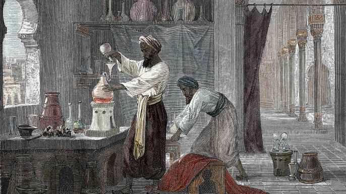 Portrait of Razi polymath, physician and alchemist in his laboratory in Bagdad, Iraq. (Credit: Leemage/Getty Images)