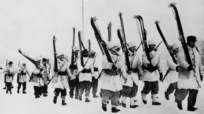 U.S. and Swedish volunteers in service to Finland move to the Russian front. (Credit: Historical/Getty Images)