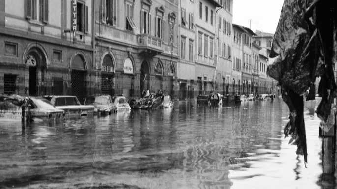 Picture of a street in Gavinana area in Florence after the flood, 04 November 1966. (Credit: RAFFAELLO BENCINI/AFP/Getty Images)