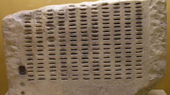 Kleroterion device used by Athenian Senate to draw lots for public officials. (Credit: Marsyas)