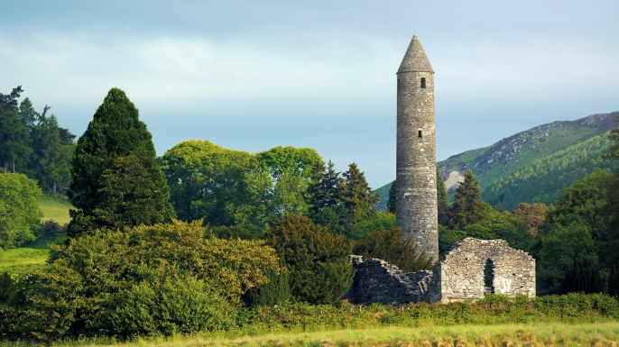 The round tower at the Glendalough monastic site in Country Wicklow, Ireland. (Credit: Peter Zelei Images)