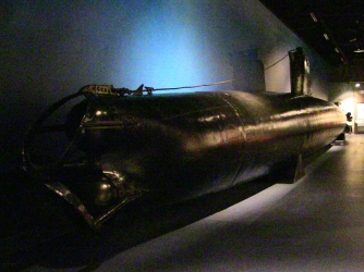 One of the midget submarines currently on display at the National Museum of the Pacific War in Fredericksburg, Texas. (Credit: National Museum of the Pacific War)