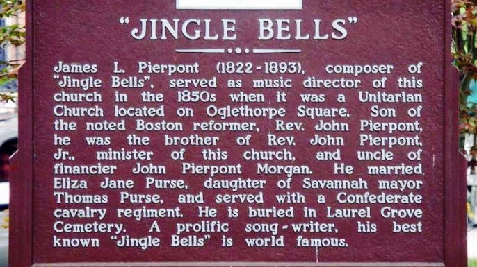 "The commemorative plaque for James Lord Pierpont and his ""Jingle Bells"" in Savannah, Georgia, USA. (Credit: Deirdre)"
