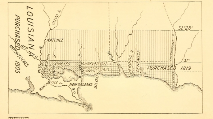 "A 1903 map showing the territorial changes of ""West Florida""; a historical region that now incorporates portions of Louisiana, Mississippi and Alabama. (Credit: Public Domain)"