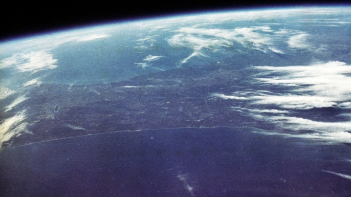 A photo of Earth taken by John Glenn during the mission. (Credit: NASA)