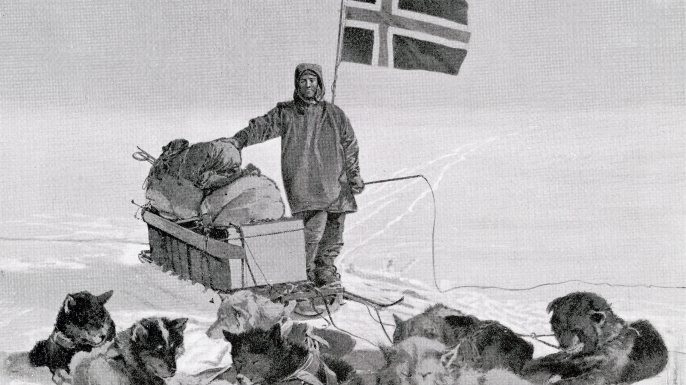 Captain Roald Engelbregt Gravning Amundsen at the South pole under the Norwegian flag. (Credit: Universal History Archive/Getty Images)