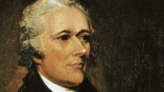 lexander Hamilton (1757-1804), American politician. Painting by John Trumbull (1756-1843). (