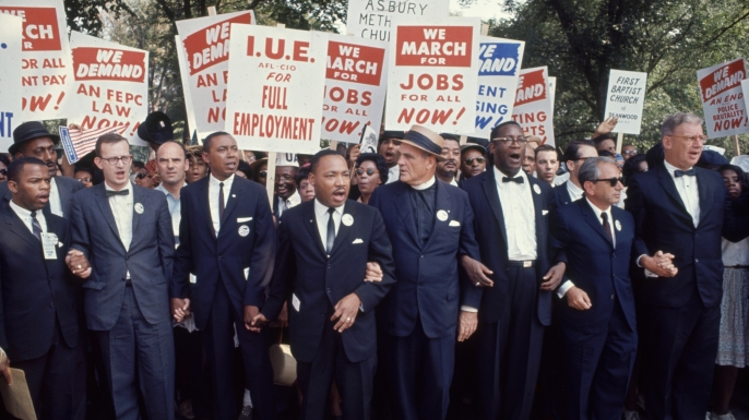 Martin Luther King, Jr. and other leaders of the March on Washington in August 1963. (Credit: Robert W. Kelley/The LIFE Picture Collection/Getty Images)