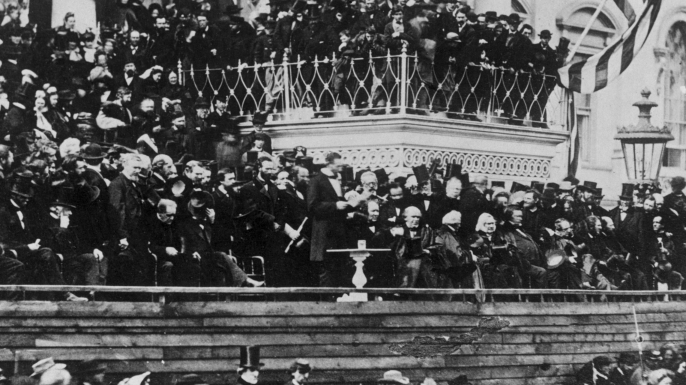 President Abraham Lincoln delivering his second inaugural address.