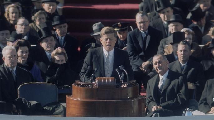 President John F. Kennedy delivering his inaugural speec
