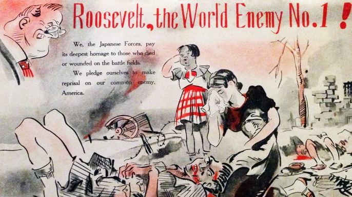 Anti-Roosevelt propaganda poster used by the Japanese. Dated 1941, (Credit: Universal History Archive/UIG/Getty images)