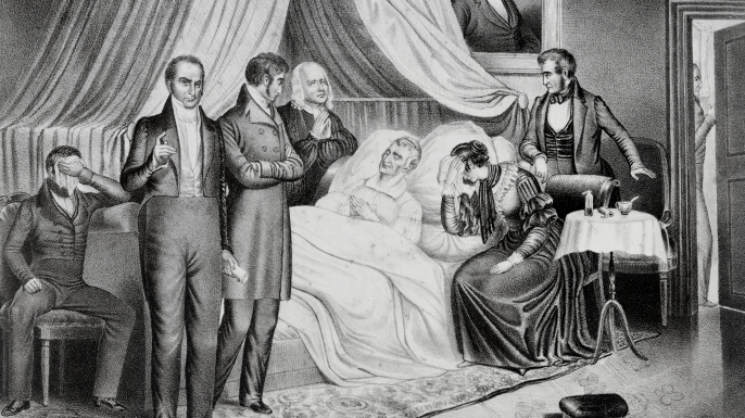 William Henry Harrison surrounded by visitors on his deathbed, just weeks after his inauguration.