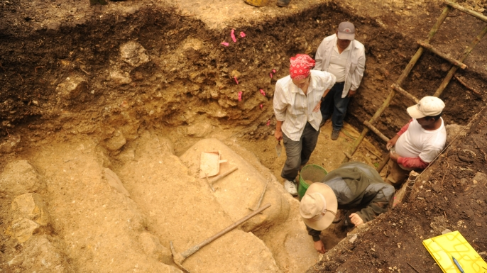 Archaeologists excavate a Mayan temple built right before the pre-Classic collapse in the second century.