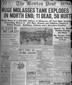 """Front page of the January 16, 1919, """"Boston Post"""" covering the disaster."""