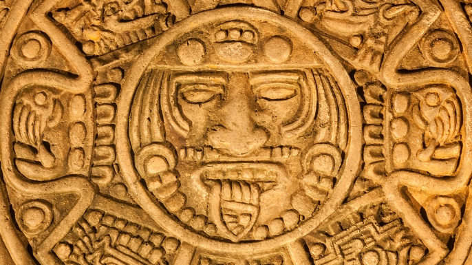 Reproduction of the ancient mayan calendar found in Chichen Itza, Mexico