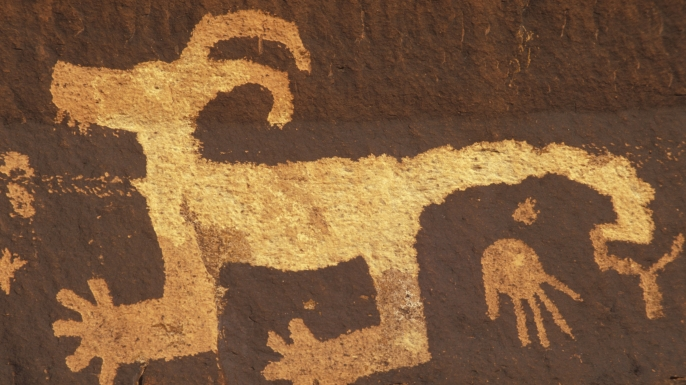 Anasazi petroglyphs at Arizona's Petrified Forest National Park.