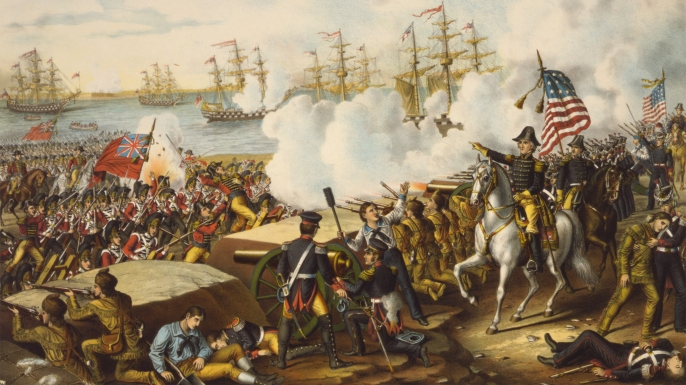 Painting depicting the Battle of New Orleans