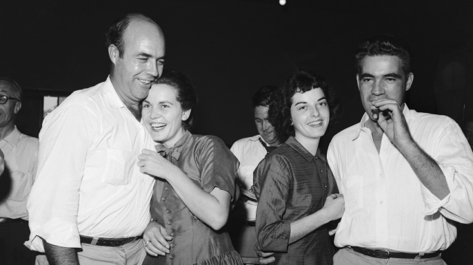 Roy and Carolyn Bryant (left) and J.W. Milam and his wife shortly after the two men were acquitted in the Emmett Till trial.