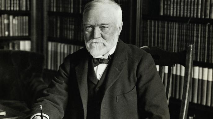 Andrew Carnegie at his desk. (Credit: George Rinhart/Corbis via Getty Images)