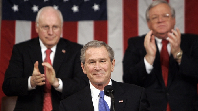 President George W. Bush delivers his 2006 State of the Union Address. (Credit: PABLO MARTINEZ MONSIVAIS/AFP/Getty Images)