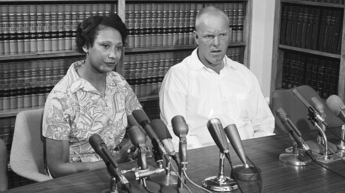 Married couple Mildred and Richard Loving answer questions at a press conference the day after the Supreme Court ruled in their favor in Loving v. Virginia. (Credit: Francis Miller/The LIFE Picture Collection/Getty Images)