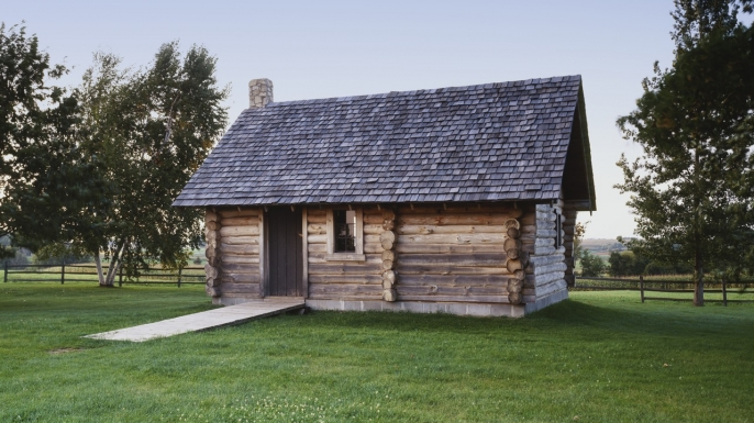 "Replica of ""The Little House in the Big Woods"" at the Laura Ingalls Wilder House in Pepin, Wisconsin."