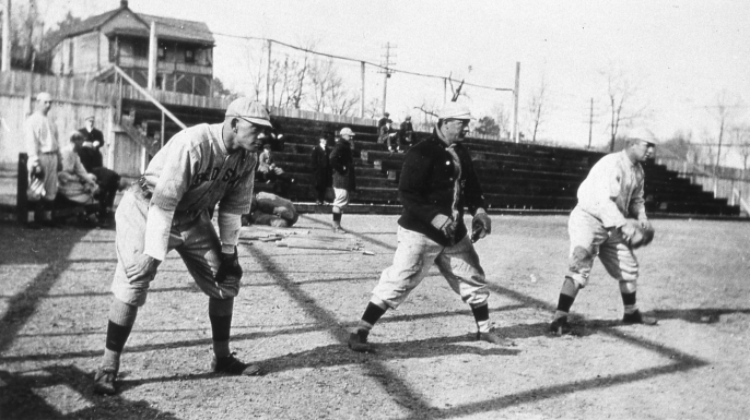 Duffy Lewis, Harry Hooper and Tris Speaker of the Boston Red Sox in 1912