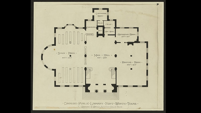 Floor plan of a typical Carnegie library. (Credit: Library of Congress)