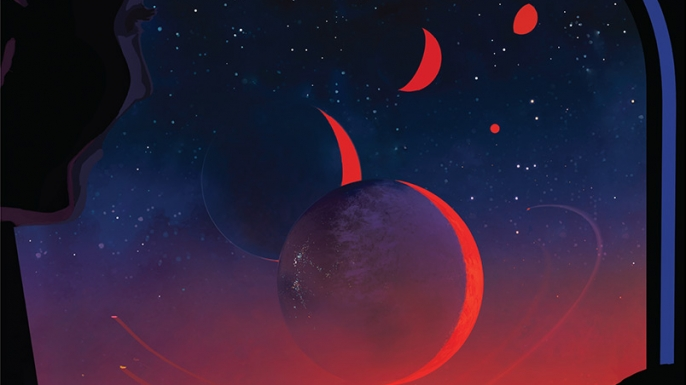 An artist's fantasy illustration of the surface of TRAPPIST-1e, a stop on a tour of this seven-world system. (Credit: NNASA-JPL/Caltech)