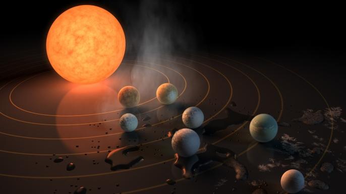 Artist's concept of TRAPPIST-1 System. (Credit: NASA/JPL-Caltech/R. Hurt (IPAC)