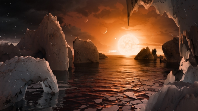 This artist's concept allows us to imagine what it would be like to stand on the surface of the exoplanet TRAPPIST-1f. (Credit: NASA/JPL-Caltech/T. Pyle (IPAC)