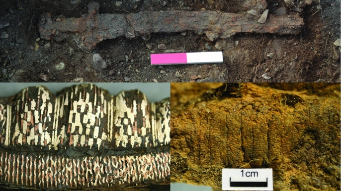 Other artifacts from the burial site. The sword (top); the sword in situ (below); the mineralized textile remains (right); detail of the decoration after conservation (left). (Credit: Pieta Greaves/AOC Archaeology).