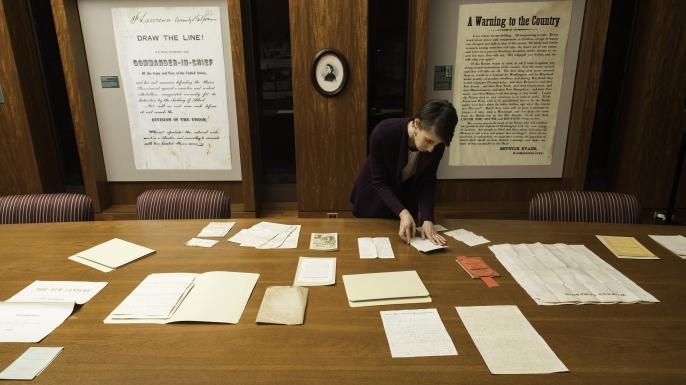 Manuscript Librarian Lori Birrell.  (Credit: J. Adam Fenster / University of Rochester)