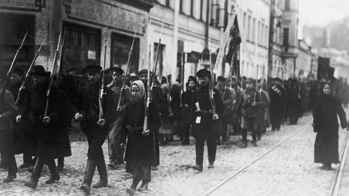Workers and soldiers parade through the streets of Petrograd after the first Russian Revolution of February 1917. (Credit: Keystone-France/Gamma-Keystone via Getty Images)