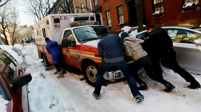 Boerum Hill, Brooklyn on December 29, 2010, in the wake of a massive snowstorm.  (Credit: Chris Hondros/Getty Images)