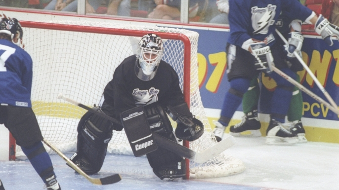 Goaltender Manon Rheaume of the Tampa Bay Lightning in action during a game. (Credit: Scott Halleran/Allsport)