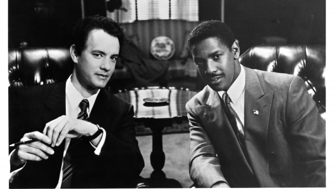 "Actors Tom Hanks and Denzel Washington on the set of the Tri Star movie "" Philadelphia"" in 1993.  (Credit: Michael Ochs Archives/Getty Images)"